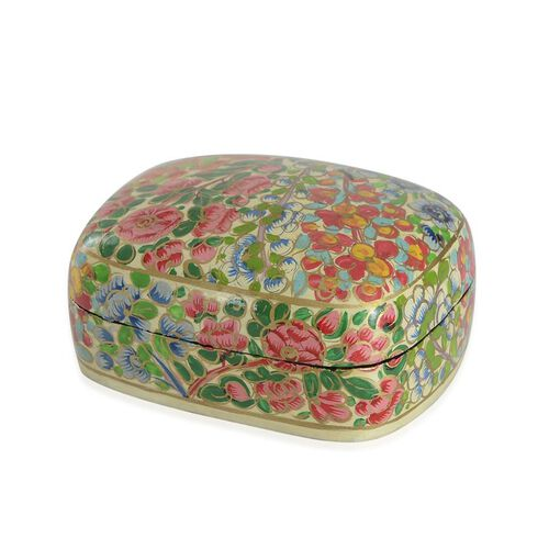 Home Decor - Pink, Yellow and Multi Colour Floral Pattern Handmade Paper Mache Box