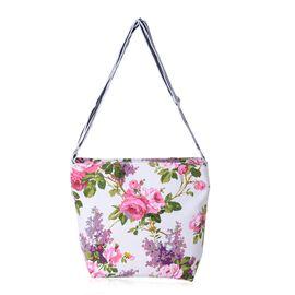 Floral Bag with External Zipper Pocket (Size 31x30x24x10 Cm)