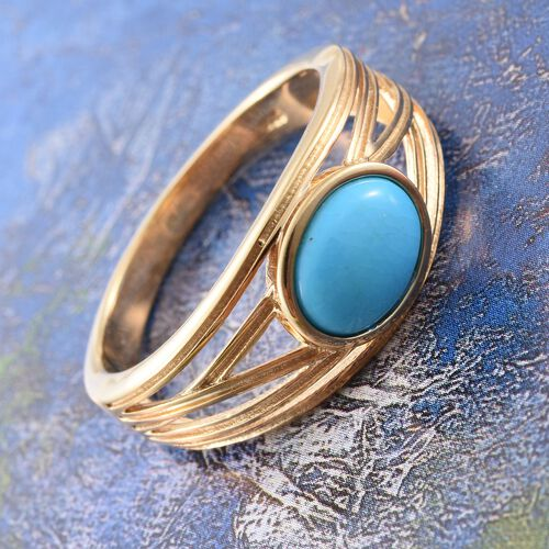 Arizona Sleeping Beauty Turquoise (Ovl) Solitaire Ring in 14K Gold Overlay Sterling Silver 1.500 Ct.
