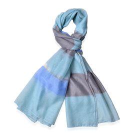 Designer Inspired-Light Blue, Brown and Multi Colour Stripe Pattern Shawl (Size 170x70 Cm)