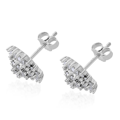 9K White Gold 1 Carat Diamond Stud Cluster Earrings (with Push Back) SGL Certified I3 G-H