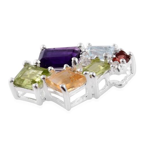 Amethyst (Oct), Hebei Peridot, Citrine, Sky Blue Topaz, Mozambique Garnet and White Topaz Pendant in Sterling Silver 3.00 Ct.