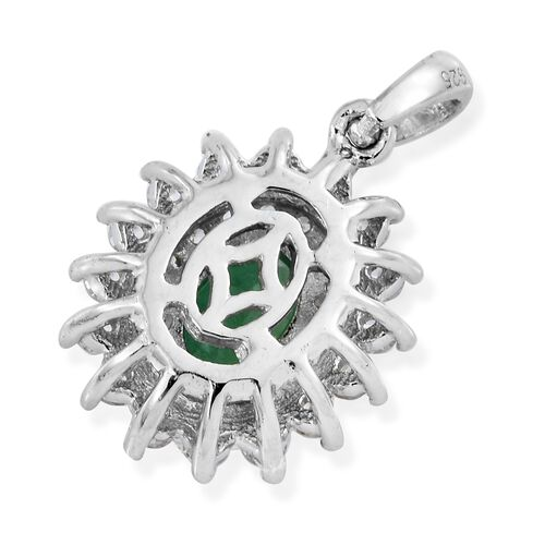 Collectors Edition- AAA Premium Santa Terezinha Emerald (Ovl 7x5 mm), Natural Cambodian Zircon Pendant in Platinum Overlay Sterling Silver 1.250 Ct.