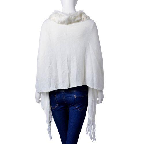 One Time Deal - Designer Inspired - Super Soft White Colour Longer Line Kimono Cape with Faux Fur Collar (Free Size)