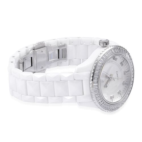 EON 1962 Swiss Movement Diamond Studded White Ceramic Watch