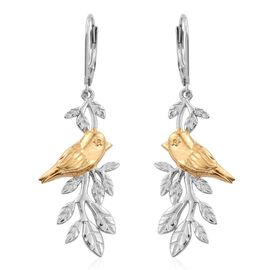 Platinum and Yellow Gold Overlay Sterling Silver Chiffchaff Bird on Birch Branch Lever Back Earrings, Silver wt 8.50 Gms.