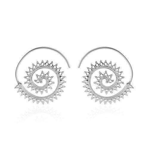 Designer Inspired-Sterling Silver Swirl Hook Earrings, Silver wt 5.00 Gms.