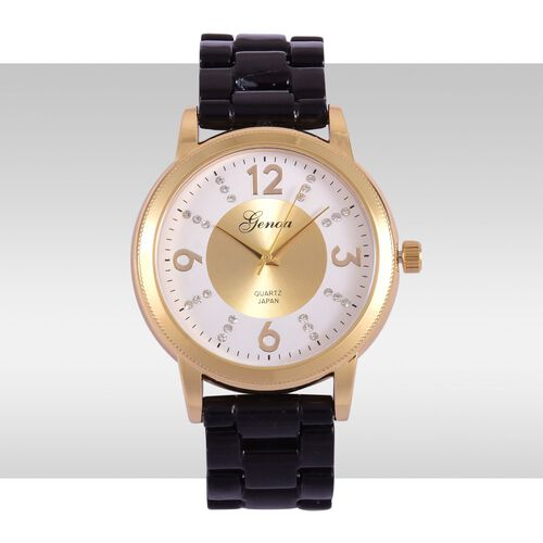 GENOA Japanese Movement White Austrian Crystal Studded White and Golden Dial Water Resistant Watch in Gold Tone with Stainless Steel Back and Black Ceramic Strap