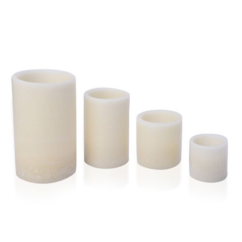 Set of 4 - White Colour Flameless Wax Blowing Candles (Size 7X7/ 10X9.5/ 14.5X10/ 19.5X12 Cm)