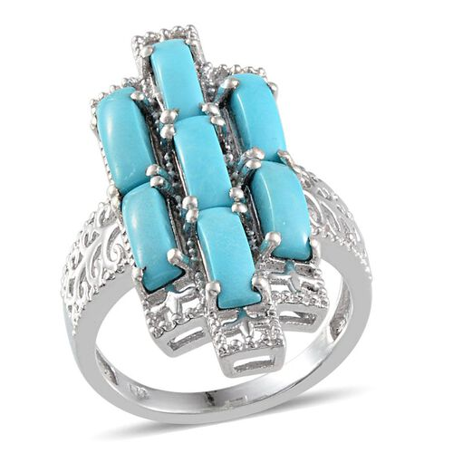Arizona Sleeping Beauty Turquoise (Bgt) 7 Stone Ring in Platinum Overlay Sterling Silver 4.500 Ct.