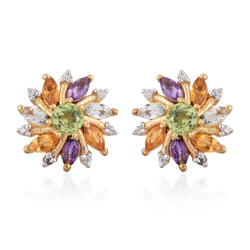 Hebei Peridot (Rnd), Amethyst, Sky Blue Topaz, Citrine and Natural Cambodian Zircon Floral Stud Earrings (with Push Back) in 14K Gold Overlay Sterling Silver 1.550 Ct.