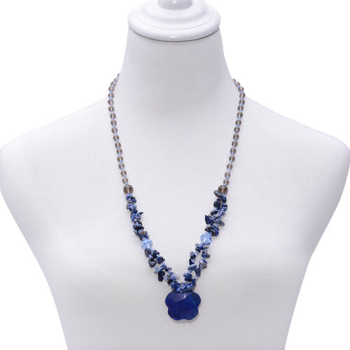 Lapis Lazuli, Sodalite and Simulated Diamond Necklace (Size 28) and Stretchable Bracelet 400.00 Ct