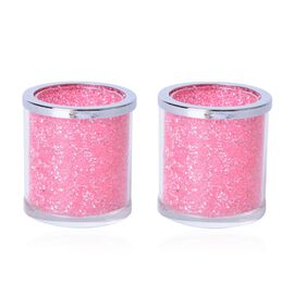 Set of 2 - Pink Austrian Crystal and Glass Double Layer Candle Holder ( Size 6.5x6 Cm)