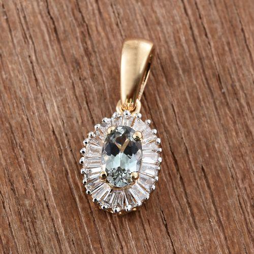 ILIANA 18K Yellow Gold 0.40 Carat AAA Green Tanzanite Pendant with Diamond (SI/G-H)