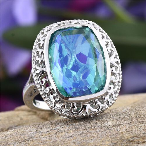 Peacock Quartz (Cush) Ring in Platinum Overlay Sterling Silver 14.000 Ct.