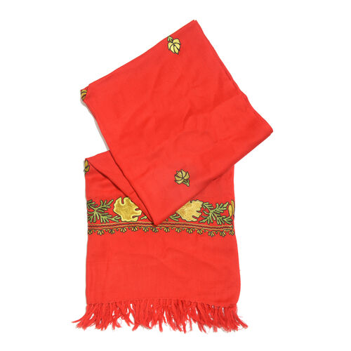100% Merino Wool True Red, Yellow and Multi Colour Embroidered Shawl with Tassels (Size 180X70 Cm)