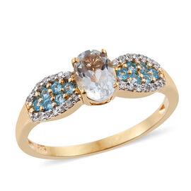 Espirito Santo Aquamarine (Ovl), Malgache Neon Apatite, Natural Cambodian Zircon Ring in 14K Gold Overlay Sterling Silver 1.250 Ct.