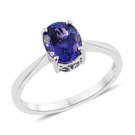 RHAPSODY 950 Platinum AAAA Tanzanite (Ovl) Solitaire Ring 2.000 Ct. Platinum Wt 4.52 Grams