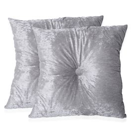 Set of 2 - Metallic Grey Colour Crush Velvet Seat Cushion (Size 44x44 Cm)