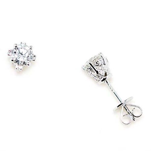 ILIANA 18K W Gold Diamond (Clarity SI and Colour G to H) Stud Earrings (with Push Back) 1.020 Ct.