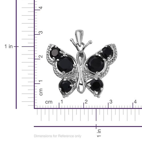 Boi Ploi Black Spinel (Rnd) Butterfly Pendant in ION Plated Platinum Bond 6.000 Ct.