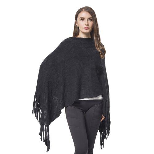Designer Inspired - Black Colour Pom Pom Embellished Poncho with Tassels (One Size)