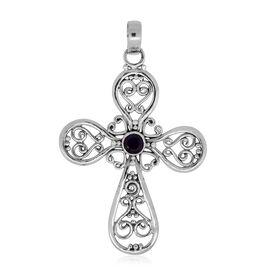 Amethyst (Rnd) Cross Pendant in Sterling Silver, Silver wt. 3.50 Gms.