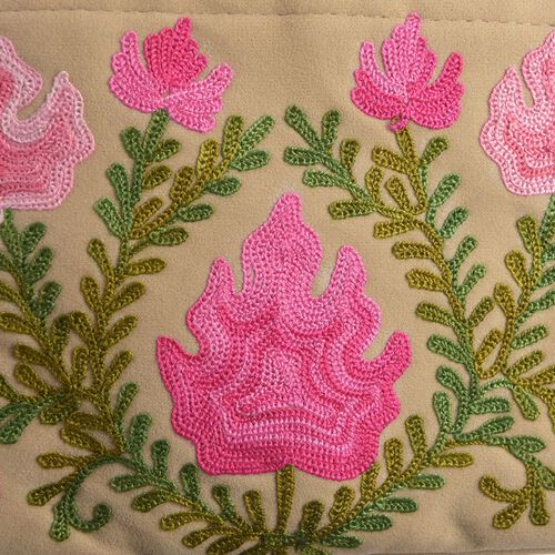 Beige, Green and Pink Colour Hand Embroidered Floral and Leaves Pattern Sling Bag with External Zipper Pocket (Size 26X22 Cm)