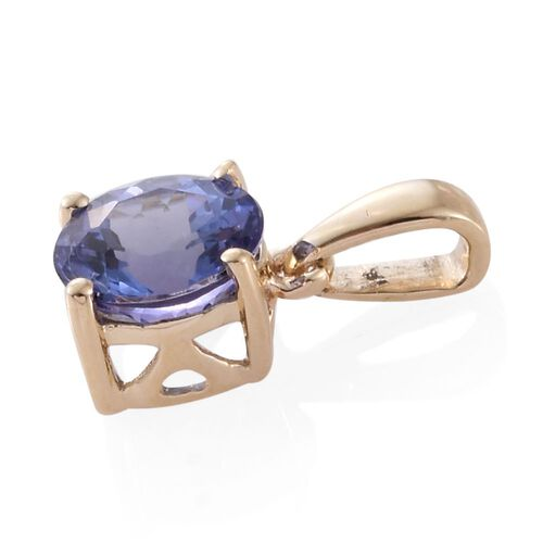 9K Yellow Gold AAA Tanzanite (Rnd) Solitaire Pendant 0.750 Ct.