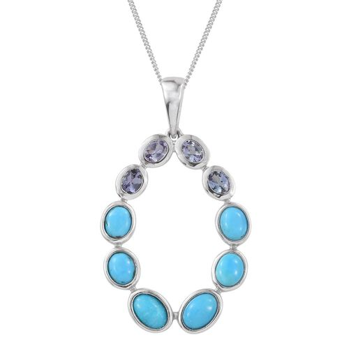 Arizona Sleeping Beauty Turquoise (Ovl), Bondi Blue Tanzanite Pendant with Chain in Platinum Overlay Sterling Silver 3.250 Ct.