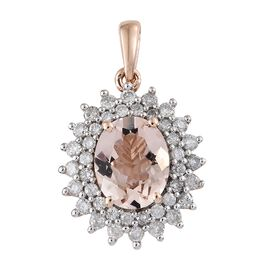 9K Rose Gold AAA Marropino Morganite (Ovl 2.25 Ct), Diamond Pendant 3.000 Ct.