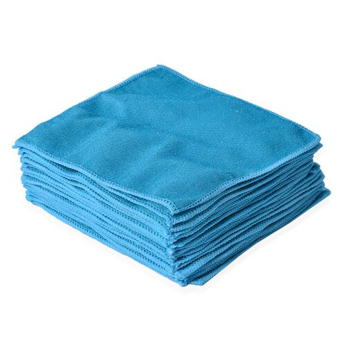 Set of 20 - Turquoise Colour Double Sided, Multifunctional Microfibre Towel (Size 24x24 Cm)
