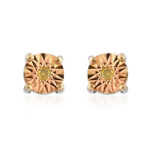 Canary Yellow Diamond (Rnd) Stud Earrings (with Push Back) in Platinum Overlay Sterling Silver