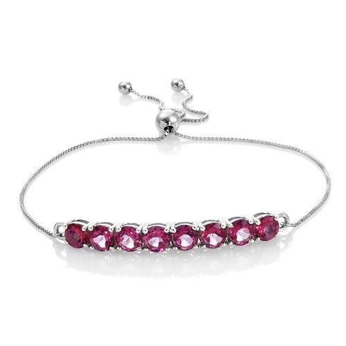Mystic Pink Coated Topaz (Rnd) Adjustable Bracelet (Size 7.5) in Platinum Overlay Sterling Silver 5.000 Ct.