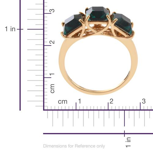 J Francis Crystal from Swarovski - Indicolite Colour Crystal (Sqr) Trilogy Ring in 14K Gold Overlay Sterling Silver