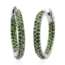 Designer Inspired- Russian Diopside Rnd) Hoop Earrings (with Clasp Lock) in Platinum Overlay Sterling Silver 3.000 Ct. Sterling Wt. 8.34 Grams Total Number of Gemstones- 120