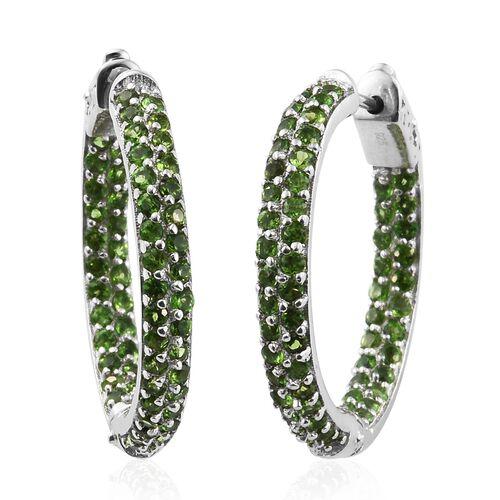 Designer Inspired- Russian Diopside (Rnd) Hoop Earrings (with Clasp Lock) in Platinum Overlay Sterling Silver 3.000 Ct. Sterling Wt. 8.34 Grams Total Number of Gemstones- 120