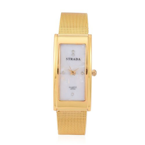 STRADA Japanese Movement White Austrian Crystal Studded White Dial Water Resistant Watch in Gold Tone with Stainless Steel Back and Chain Strap