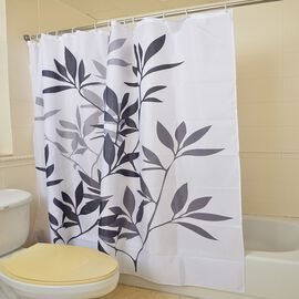 Black, Grey and White Colour Leaves Pattern Water Proof Shower Curtain (Size 180X180 Cm) with 12 Plastic Hooks