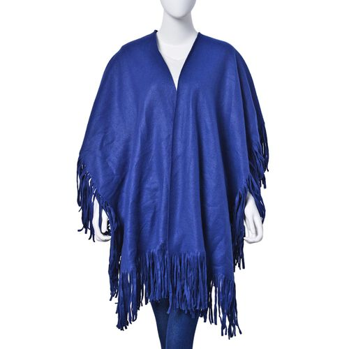 Blue Colour Double Sided Ruana with Tassels (Size 100x70 Cm)