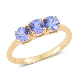 ILIANA 18K Yellow Gold AAA Tanzanite (Rnd) Trilogy Ring 1.500 Ct.Gold Wt 3.08 Gms