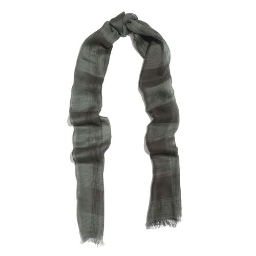 Limited Available-100% Merino Wool Checks Pattern Black and Green Colour Scarf with Fringes (Size 180x70 Cm)