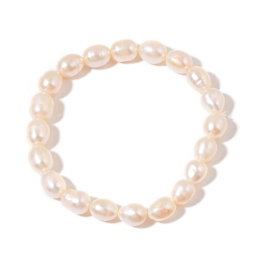 AAA Fresh Water Peach Pearl Necklace (Size 18 with 2 inch Extender) and Stretchable Bracelet (Size 7.50) in Rhodium Plated Sterling Silver