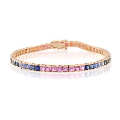 9K Yellow Gold AA Rainbow Sapphire (Sqr) Tennis Bracelet (Size 7.5) 13.250 Ct.