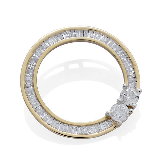 9K Yellow Gold SGL Certified Diamond (Rnd) (I3 G-H) Circle of Life Pendant 1.000 Ct.