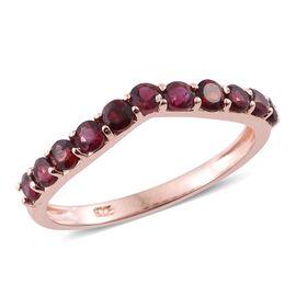 Arizona Anthill Garnet (Rnd) Wishbone Ring in Rose Gold Overlay Sterling Silver 1.000 Ct.