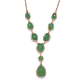 Green Jade (Pear 6.55 Ct) Necklace (Size 18) in 14K Gold Overlay Sterling Silver 20.250 Ct.
