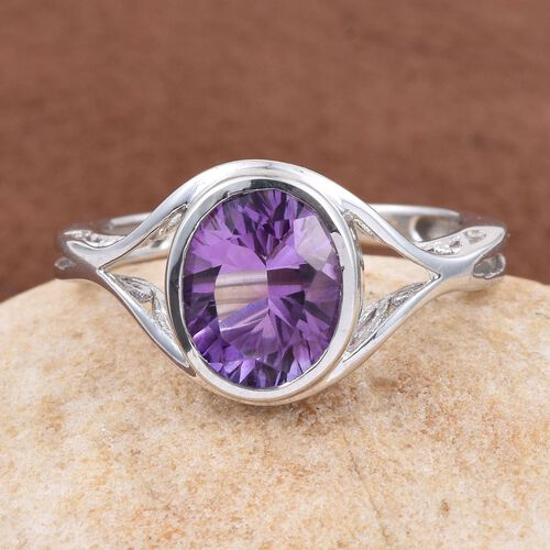 Natural Uruguay Amethyst (Ovl) Solitaire Ring in Platinum Overlay Sterling Silver 2.000 Ct.