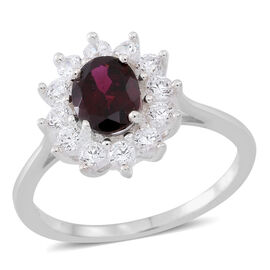 Rhodolite Garnet (Ovl 1.75 Ct), Simulated Diamond Floral Ring in Sterling Silver 3.250 Ct.
