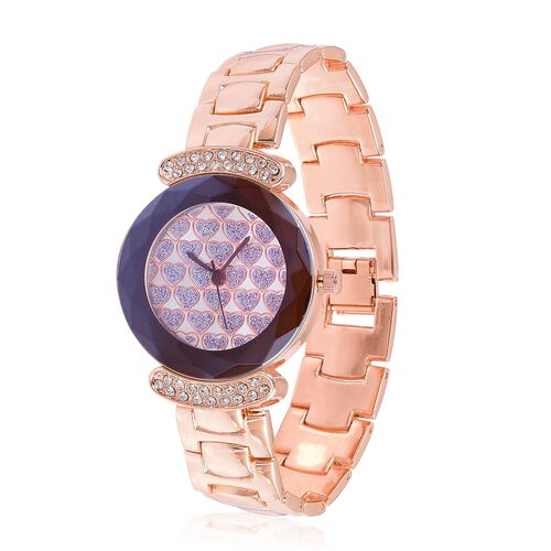 GENOA Japanese Movement Purple Heart Pattern Dial Watch with White Austrian Crystal in Rose Gold Tone